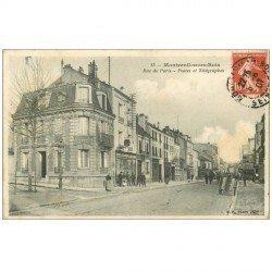 carte postale ancienne 93 MONTREUIL. Postes et Télégraphes Rue de Paris 1907