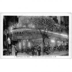 carte postale ancienne 93 MONTREUIL. Tabac Grand Comptoir Carrefour de la Croix-de-Chavaux. Papier brillant