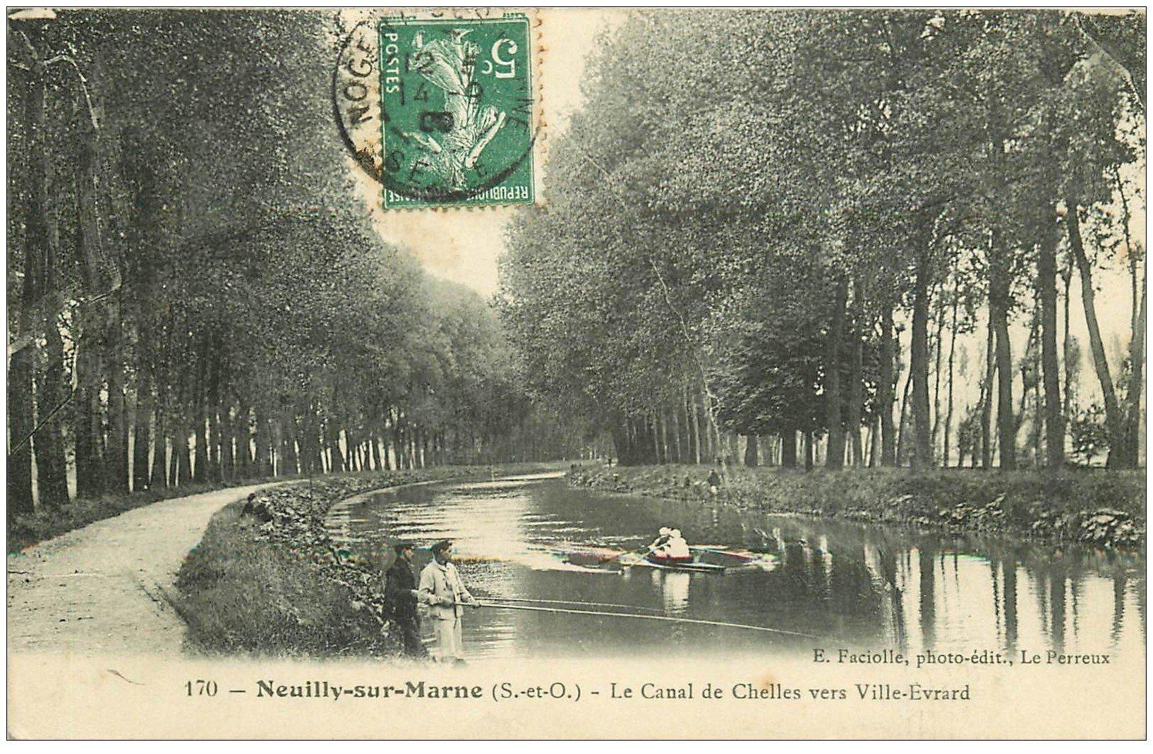 93 neuilly sur marne p cheurs sur le canal vers ville evrard 1909 et canoteurs. Black Bedroom Furniture Sets. Home Design Ideas