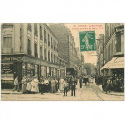 carte postale ancienne 93 PANTIN. Pharmacie Rue Hoche et Paris 1911 Magasin habits Armand