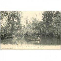 carte postale ancienne 93 PLATEAU DE MONTFERMEIL. Château de Maison Rouge le Rocher et Tour en barque