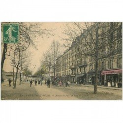 carte postale ancienne 93 SAINT DENIS. Avenue de Paris et Pont du Soissons 1908