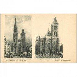 carte postale ancienne 93 SAINT DENIS. La Basilique Abbaye avant et actuel