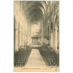 carte postale ancienne 93 SAINT DENIS. La Basilique Abbaye Nef