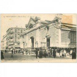 carte postale ancienne 93 SAINT DENIS. Le Marché Rue de Paris 1919