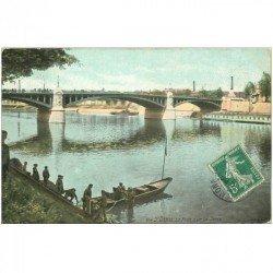 carte postale ancienne 93 SAINT DENIS. Le Pont et Scaphandrier 1908