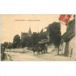 carte postale ancienne K. 91 ATHIS-MONS. Avenue Constance attelage de Commerçant 1907