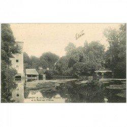 carte postale ancienne K. 91 BRUNOY. Le Moulin et le Pont sur l'Yerres