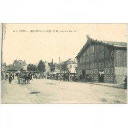 carte postale ancienne K. 91 CORBEIL. Un coin du Marché. Pour Maillard à Champeaux 1909
