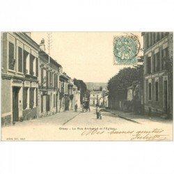 carte postale ancienne K. 91 ORSAY. La Rue Archangé et l'Eglise 1903