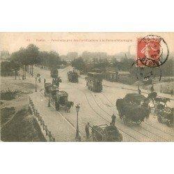 93 PANTIN. Des Fortifications Porte Allemagne 1907 Tramway à étage et Fiacres