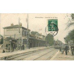 93 PIERREFITTE. Train locomotive à vapeur dans la Gare 1907