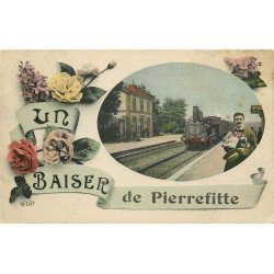 93 PIERREFITTE. Carte montage fantaisie Train en Gare
