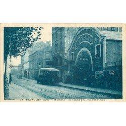 93 BAGNOLET. Le Cinéma Capitole et Bus rue Paul Vaillant Couturier ex rue de Paris
