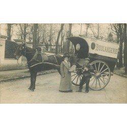 Photo carte postale d'un Attelage Boulangerie livreur Pains Viennois et Seigle vers 1910...