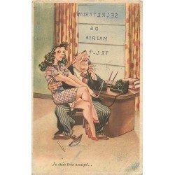 Carte postale Fantaisie et Humoristique. Le Secrétariat du Maire très occupé 1952
