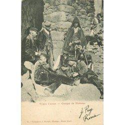 20 NIOLO. Groupe de Niolans jouant aux cartes vers 1904. Types Corses