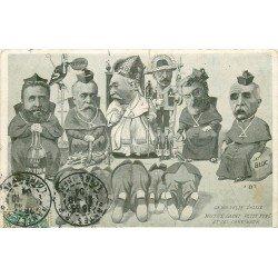 FANTAISIE. Carte caricature des Hommes d'Eglise qui boivent 1904