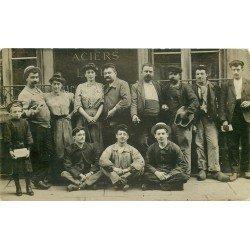 PARIS XI. Rare groupe d'Employés et Ouvriers ateliers Aciers 41 Rue du Chemin Vert 1906 Photo Carte Postale