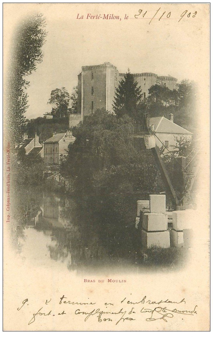 carte postale ancienne 02 LA FERTE-MILON. Transport de pierres Bras du Moulin 1902