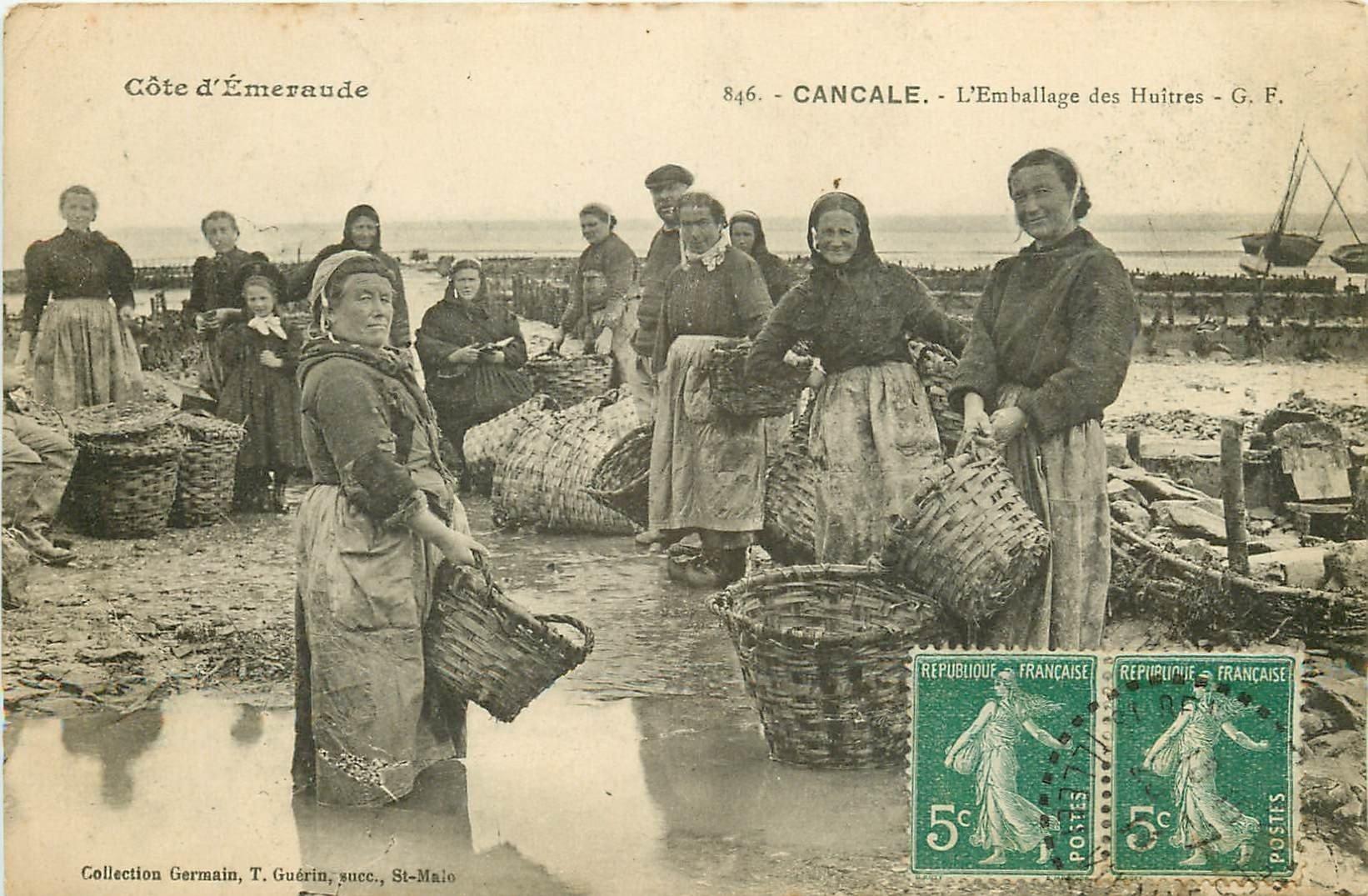 """35 CANCALE. L""""Emballage des Huîtres 1911. Pêcheuses et Crustacés métiers de la Mer bis"""