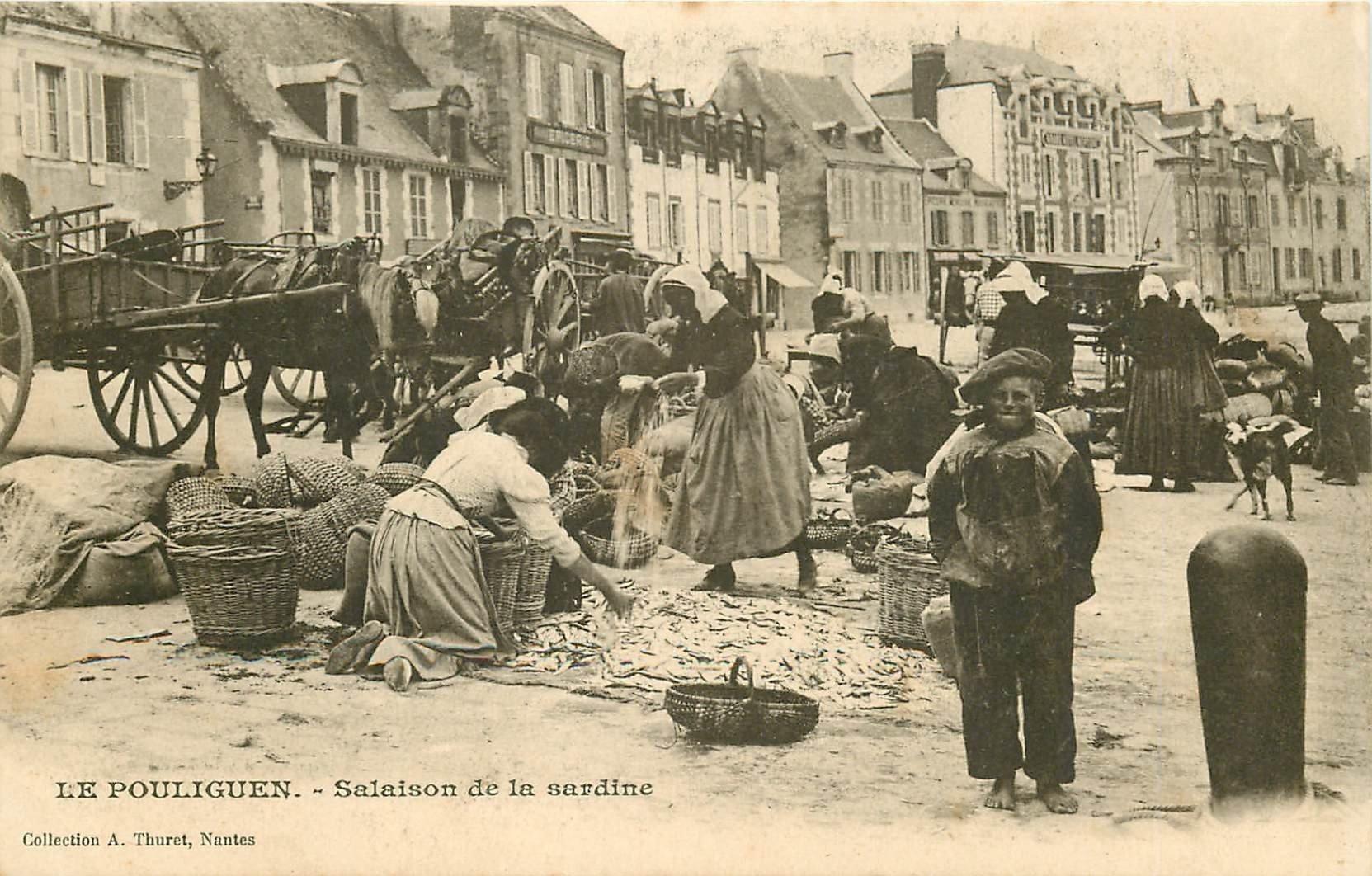 44 LE POULIGUEN. Salaison de la Sardine vers 1900. Attelages et métiers de la Mer