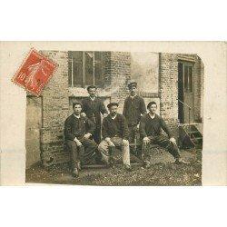 76 DIEPPE. Groupe d'Ouvriers au repos. Photo carte postale écrite pour Vernon 1908