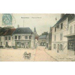 02 BEAURIEUX. Epicerie Parisienne Félix Potin Place du Marché 1907. Carte postale toilée