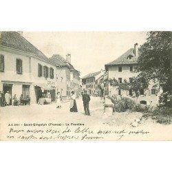 74 SAINT GINGOLPH. Douanier à la Frontière et Café du Pont 1905