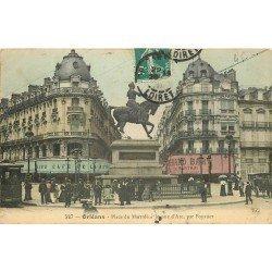 45 ORLEANS. Jeanne d'Arc Place du Martroi 1910 Tramway et Café de la Rotone