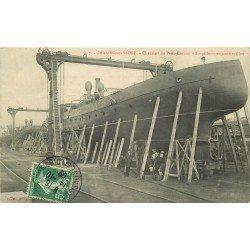 71 CHALON SUR SAONE. Torpilleurs en construction aux Chantiers du Petit Creusot 1909