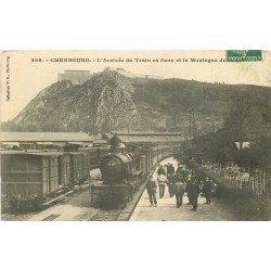 50 CHERBOURG. Arrivée du Train et sa Locomotive à vapeur en Gare 1909