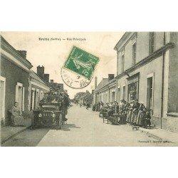 72 BRETTE. Superbe voiture ancienne devant Café Tabac Rue Principale vers 1910
