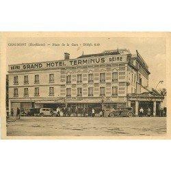 52 CHAUMONT. Grand Hôtel Terminus Place de la Gare et voitures anciennes devant Café Reine 1939