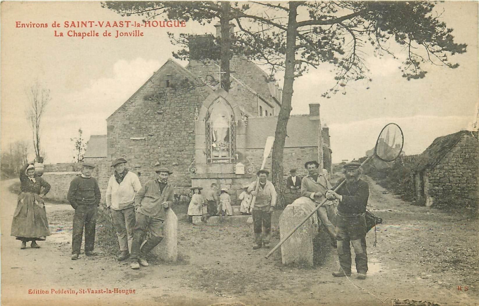 50 SAINT VAAST LA HOUGUE. La Chapelle de Joinville. Porteuse d'eau et Pêcheur de Crevettes Crustacés