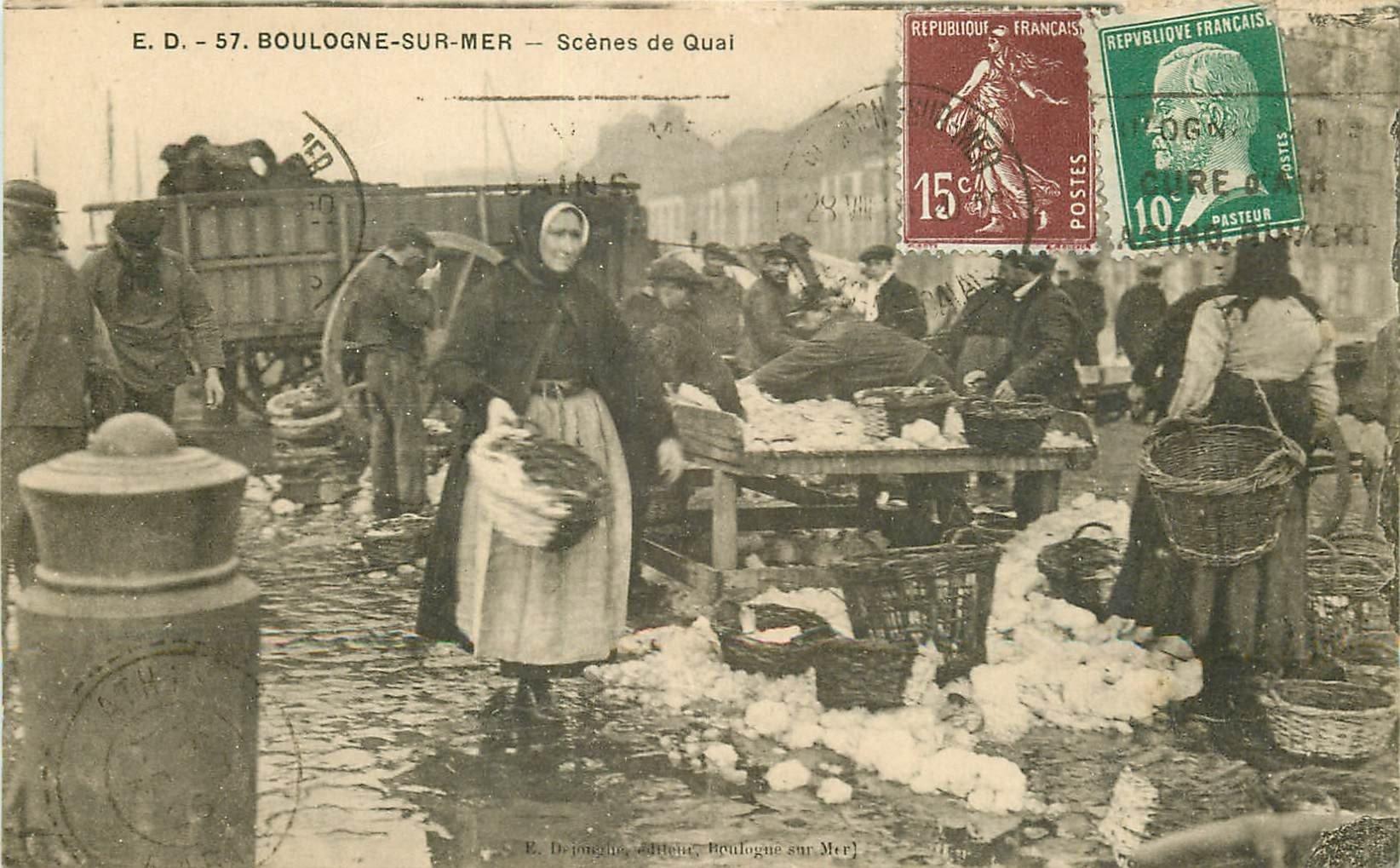 62 BOULOGNE SUR MER. Scènes de Quai 1926 Pêcheurs et Vendeurs de Poissons