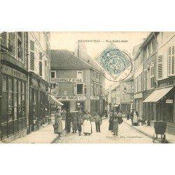 88 NEUFCHATEAU. Rue Saint Jean 1906 Comptoirs Français et Coiffeur