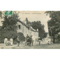 77 CHELLES. Cycliste, Attelage et Tricycle Epicerie de la Gare sur Quai de la Marne 1909 Restaurant Vannier