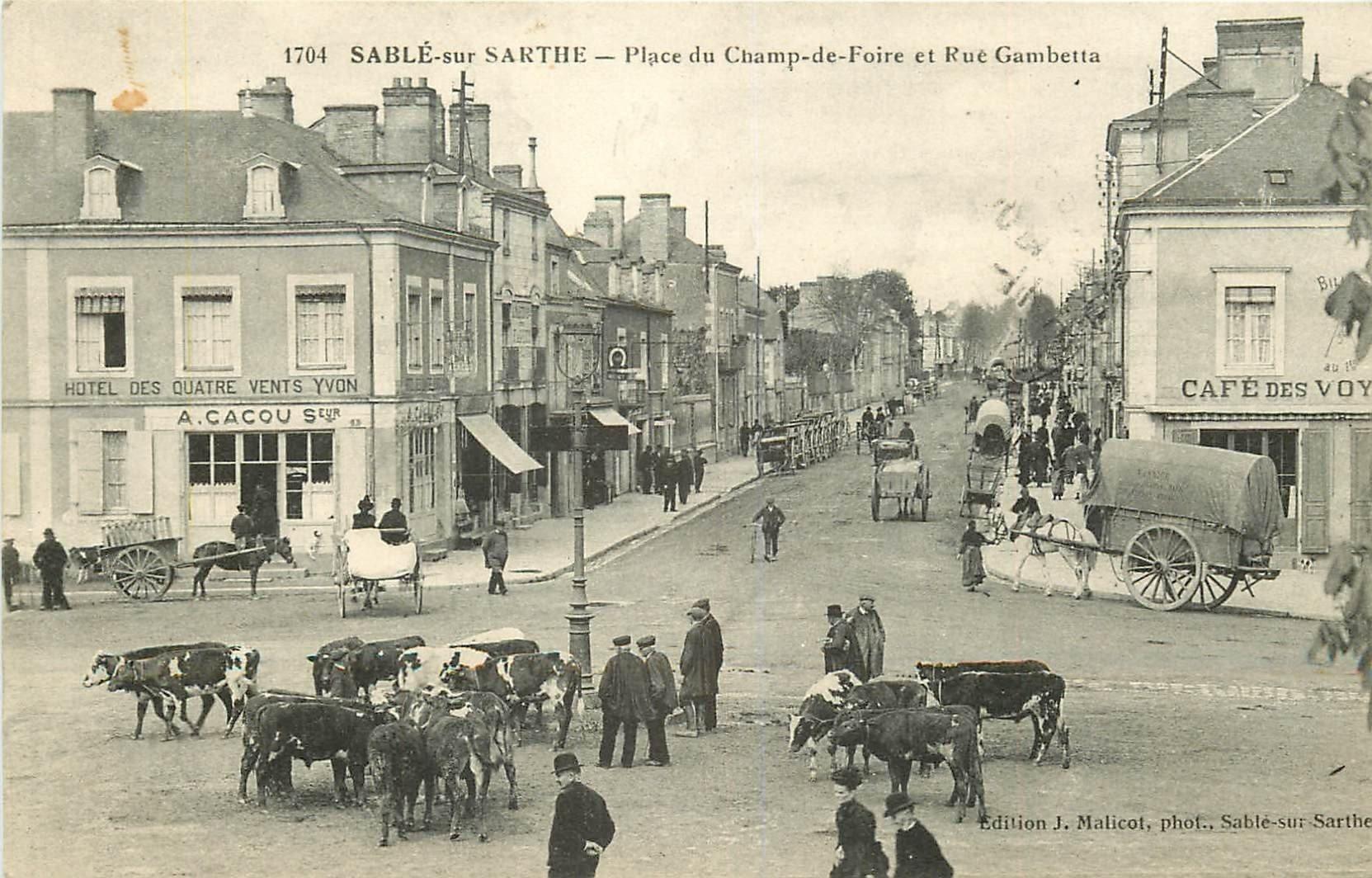 72 sable sur sarthe vaches sur place du champ de foire et rue gambetta h tel et caf 1915. Black Bedroom Furniture Sets. Home Design Ideas