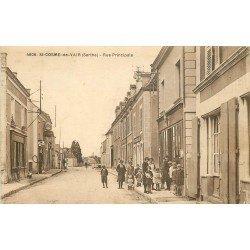 72 SAINT COSME DE VAIR. Tabac Rue Principale et Pompe à essence ancienne 1936