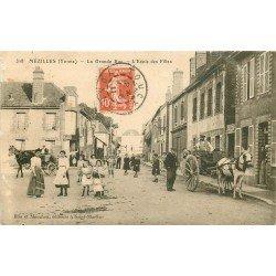 89 MEZILLES. Ecole de Filles et Attelage sur Grande Rue 1911