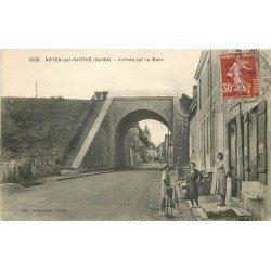 72 NOYEN SUR SARTHE. Arrivée par le Mans Café Lefèvre 1938 et Pont du Chemin de Fer