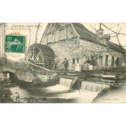 27 FONTAINE SOUS JOUY. Le Moulin à eau de Launay 1910 avec Meuniers et écluse