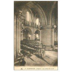 carte postale ancienne 14 OUISTREHAM. Eglise les Piliers de la Nef