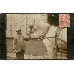 62 MARENLA. Un Livreur et son attelage. Photo carte postale ancienne 1909