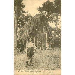 33 LE CANON. Parqueuse d'Huîtres et Cabane de Résinier 1912. Métiers de la Mer et de la Forêt