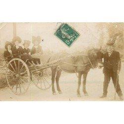 47 MONTSEMPRON LIBOS. Superbe Attelage avec élégantes. Rare Photo carte postale ancienne vers 1912