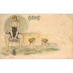 ALLEMAGNE. Gruss de Baigneuses dans une Piscine par illustrateur Liebze vers 1900