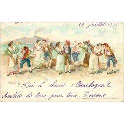 NAPOLI. La Tarantella danse près du Vesuvio 1901