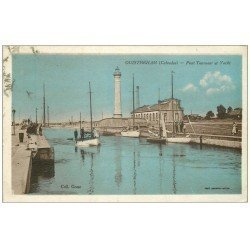 carte postale ancienne 14 OUISTREHAM. Pont Tournant et Yachts 1933